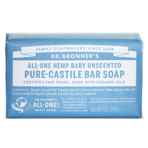 Dr. Bronner's Pure Castile Bar Soap Baby Unscented (140g / 5 oz) 베이비 무향 퓨어 캐스틸 바 솝