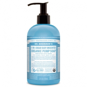 Dr. Bronner's 4-in-1 Sugar Baby Unscented Organic Pump Soap (355ml) 슈가 베이비 무향 유기농 펌프 솝